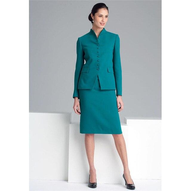 Online Shop Women Pant Suits Office Uniform Green Casual Single ...
