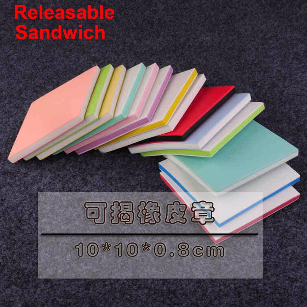 (5 pcs/lot) 10*10*0.8CM mix color Releasable Sandwich Carving blocks art Rubber Stamps 3 layers- DIY Crafting Materials