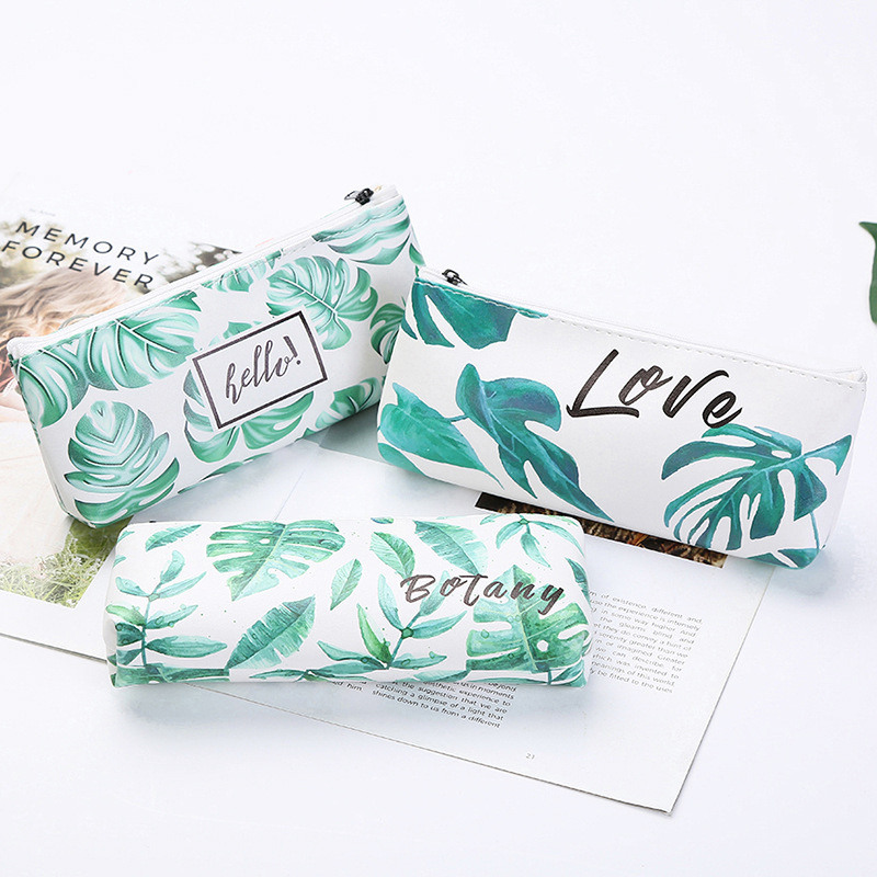 Cute Pencil Bag & Case Pu Leather Green Leaf Letter Hello Student Girls Novelty Storage Bags For School Supply Stationery