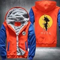 New Dragon Ball Animate Men's Women's Printing Pattern Thicken Fleece Zipper Hoodies Jacket Super Saiyan Goku DBZ