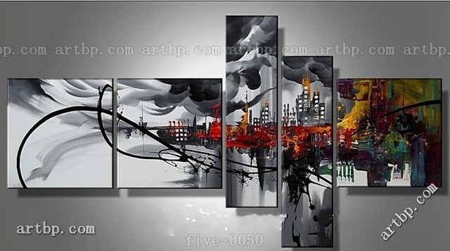 Abstract Oil Painting On Canvas Black And White Canvas Wall Art ...