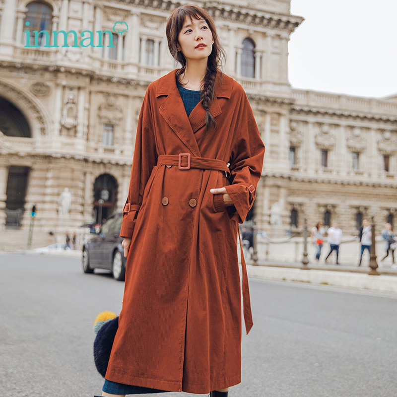 INMAN 2018 Autumn atmosphere double breasted long sleeved loose long   trench   coat women England style