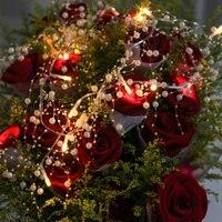 3 m 20LED Pérola Fio De Cobre Luz Cordas Quentes Luzes Brancas De Fadas para Artesanato Garrafa De Vidro Decoração de Casamento Dos Namorados Natal