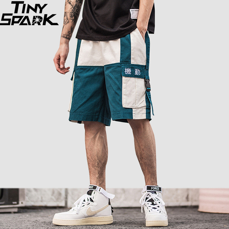 Verano Hombres Cortos 2019 Harajuku Corto Cargo Pantalones De Color Streetwear Bloque Hop Hip EYHWD2I9