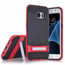 2017 new cellphone cases for Samsung Galaxy S7 edge,50pcs/lot,fiber carbon slim kickstand for Glaxy S7 edge case,free shipping