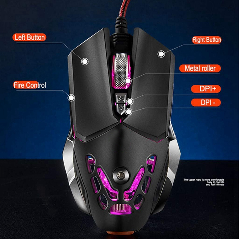 Image 2 - FELYBY Professional Wired Gaming Mouse 6 Button 2400 DPI LED Optical USB Computer Mouse Gamer Mice V9 Game Mouse For PC-in Mice from Computer & Office
