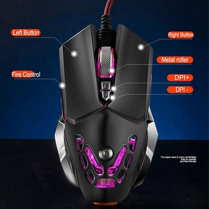 Image 2 - FELYBY Professional Wired Gaming Mouse 6 Button 2400 DPI LED Optical USB Computer Mouse Gamer Mice V9 Game Mouse For PC