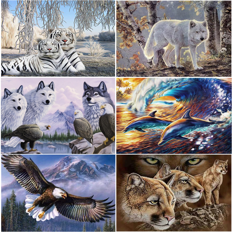 New Year 5d diy diamond painting cross stitch kits diamond embroidery mosaic pattern animal Lion tiger Eagle picture home Decor