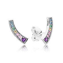 e2cf0e92f Authentic 925 Sterling Silver Earring Rainbow Arcs of Love Studs Earrings  For Women Wedding Party Gift Fine Pandora Jewelry