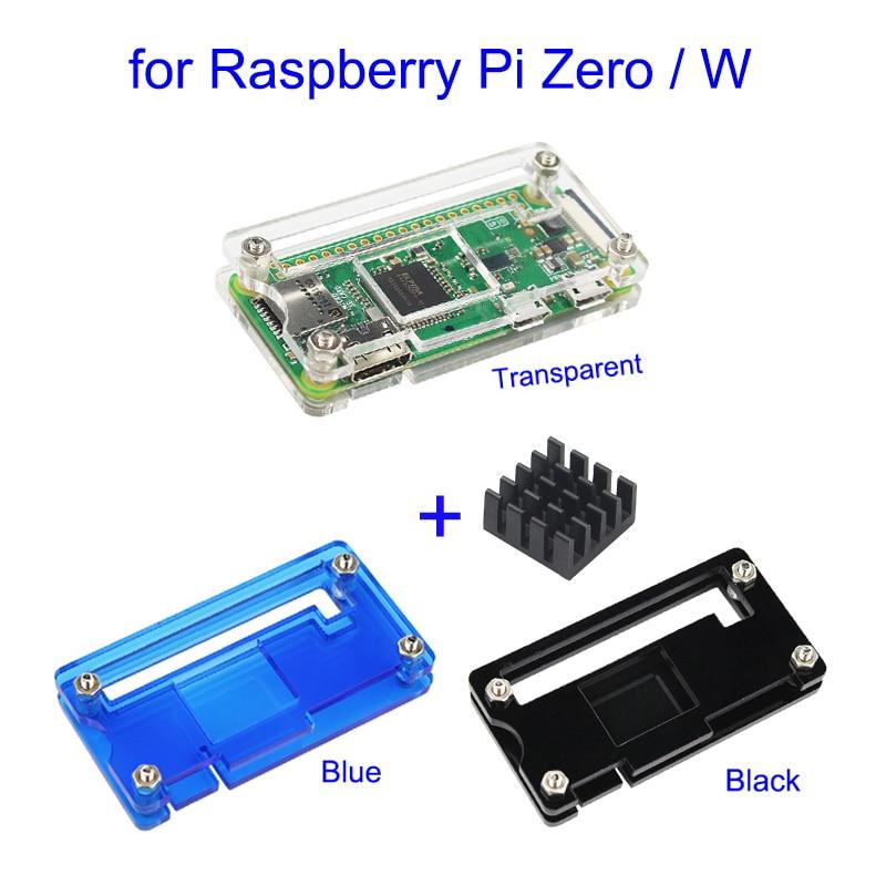 Raspberry Pi Zero W Acrylic Case 3 Colors Box Shell + Heat SinK Transaperent Black Blue Acrylic Enclosure Box For RPI Zero V1.3