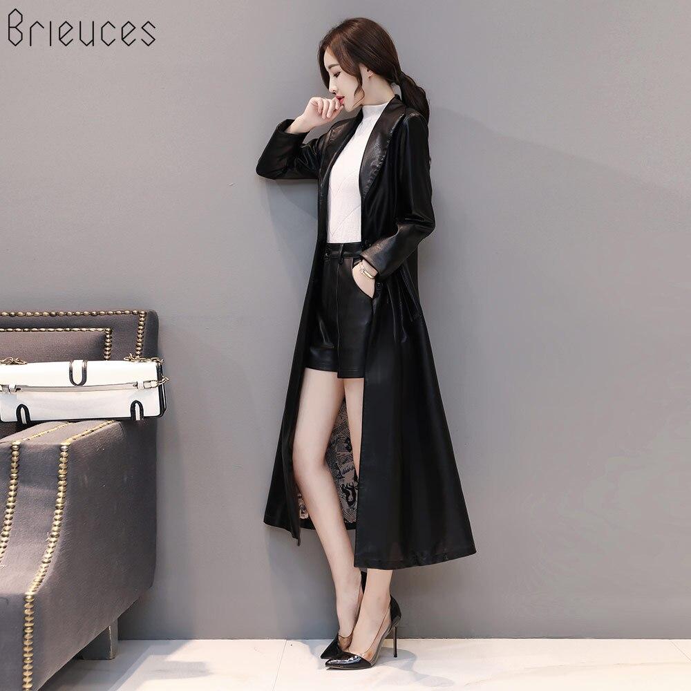 Femmes Pu Mode Manteaux Col De Printemps Turn En Veste Poitrine bourgogne Down Automne Noir X longue Cuir Unique fxq5Sw0q