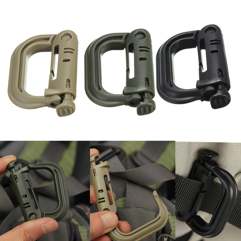 Attach Plasctic Shackle Carabiner D-ring Clip Molle Webbing Backpack Buckle Snap Lock Grimlock Camp Hike Mountain climb Outdoor(China)
