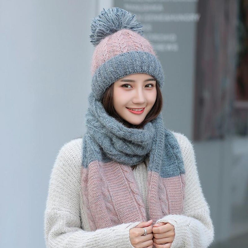 Hot Ski Girl 2018 New Brand Color matching Knitted Hats Scarf Hat ... 59e0f6f1d2e
