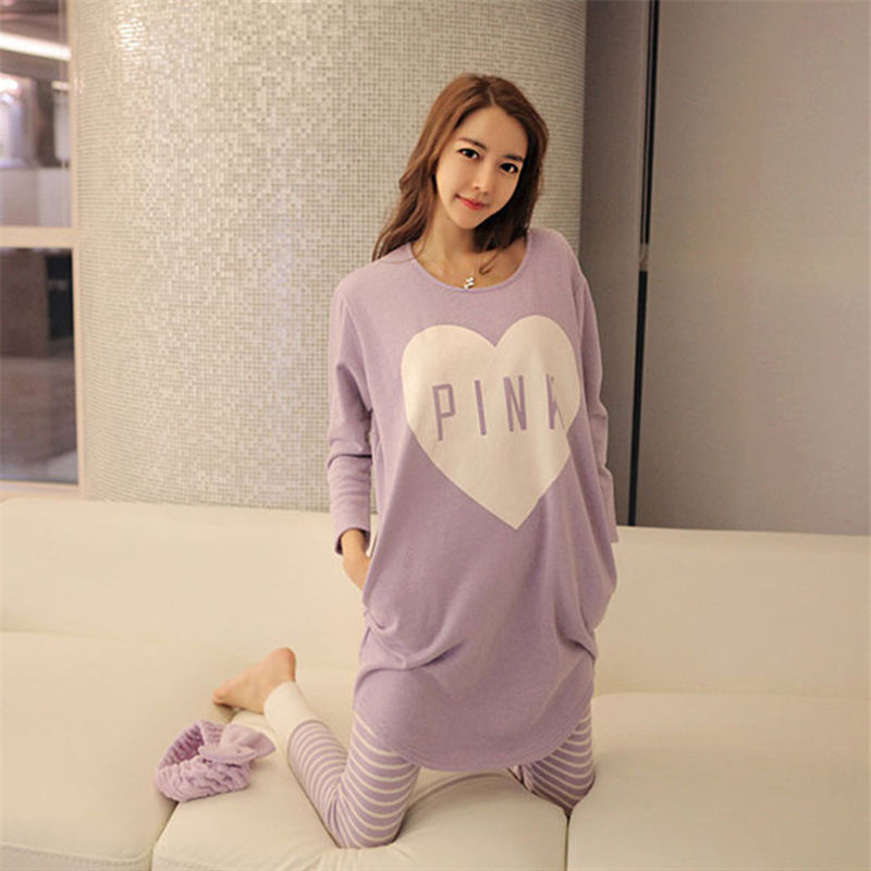 2018 Spring and Summer Love Heart Print women   pajamas   Pink Lovely Loose milk silk   pajamas     sets   Long-sleeved pants home wear