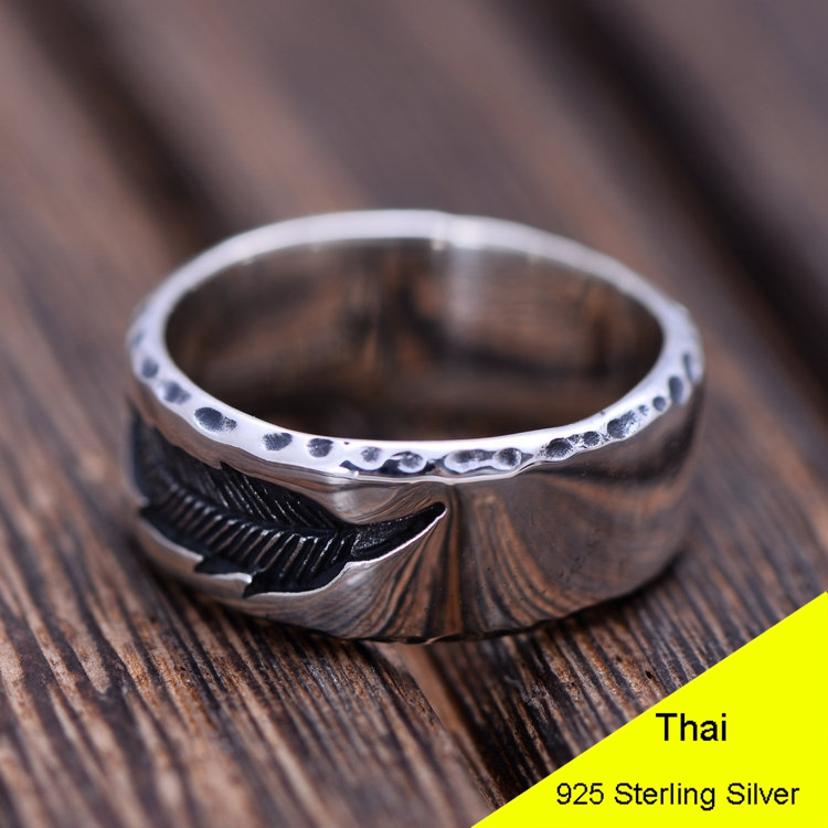 Fashion 925 Sterling Silver Retro Men Male Ring Thai Silver Fine Jewelry Gift Feather Finger Ring CH051739