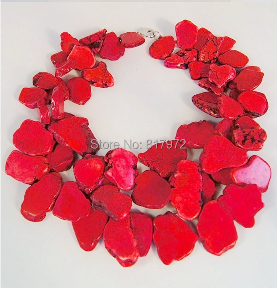 Charm New Arrival Fashionable Multilayer Red Coral Slice stone baroque Necklace Choker woman Exaggerated Coral Stone
