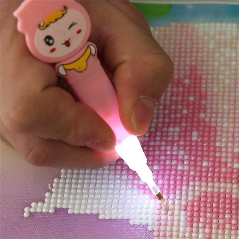 Cartoon Diamond Painting Drill LED Pen with Light Cross Kit Pen Stitch Embroidery Painting Tools Glue Plastic Tray Set