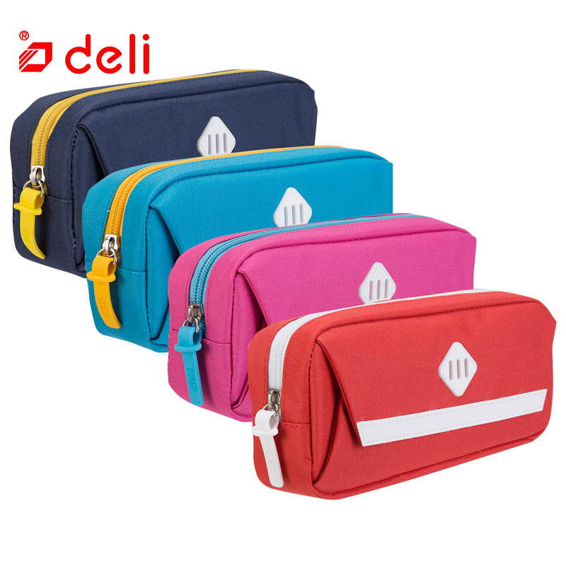 Deli cute canvas pencil bag new 4 color pencil case school student supplies stationery storage big space pencil case 66757/66758 big capacity high quality canvas shark double layers pen pencil holder makeup case bag for school student with combination coded lock