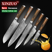 XINZUO 5 pcs Kitchen knives set Japanese Damascus kitchen knife sharp chef cleaver paring knife Color wood handle free shipping