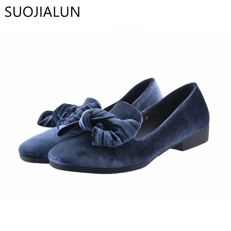 SUOJIALUN 2018 Spring Slip On Shoes Women Large Size Flat Shoes Women Velvet Female Slip Casual Square Toe Flats Shoes Sneaker eiswelt women flats shoes comfortable flat air mesh spring summer shoes female casual fashion slip on shoes for women flats