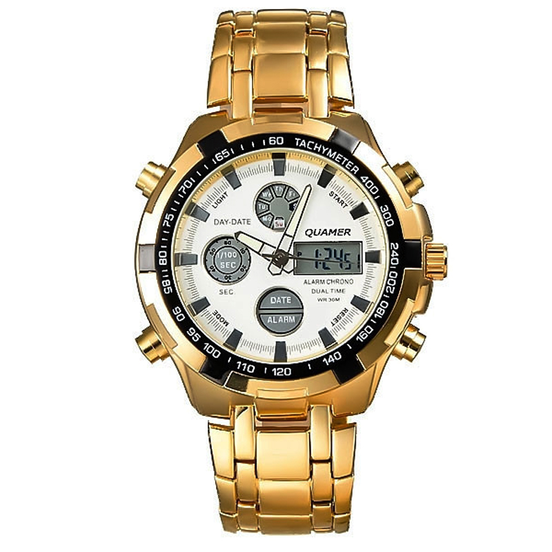 2018 Men's Fashion Full Steel Gold Quartz Watch Luxury Top Brand Dual Display Military Wristwatch High Quality Clocks