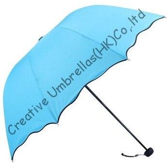 Fleur d'eau imprimée, pongé 90 T, 100% parasol, changement de couleur, parapluies manuels de forme arquée, trois fois, parasols vierges fashional