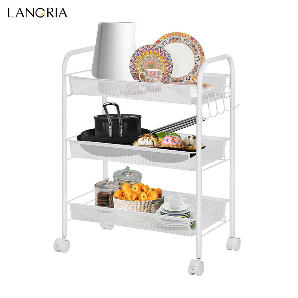 US $19.99 20% OFF|Langria 3 Tier Storage Rack Metal Mesh Rolling Cart  Bathroom Shelves for Kitchen Pantry Office Bedroom Bathroom Washroom  Laundry-in ...