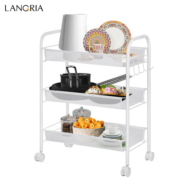 Langria 3 Tier Storage Rack Metal Mesh Rolling Cart Bathroom Shelves For  Kitchen Pantry Office Bedroom Bathroom Washroom Laundry