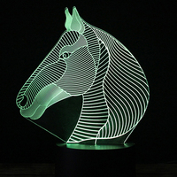 Mixed Color 3D Lamp Night Light Animal Horse Children's Decor Projection LED Table Lamp Lava Luminaria Fixtures Desk Lamparas