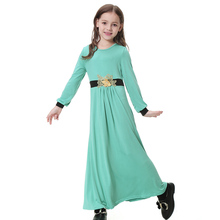 Arabic Children Clothes Muslim Girl Long Dresses Girls Appliques Abaya Vestidos