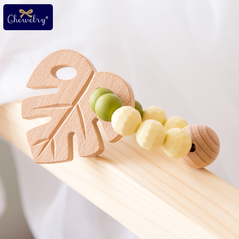 1pc Baby Beech Wooden Leaf Rattle Toy Bracelet Teether Ring Wooden Faceted Bead Food Grade Silicone Pearl Beads Biter Chew Goods