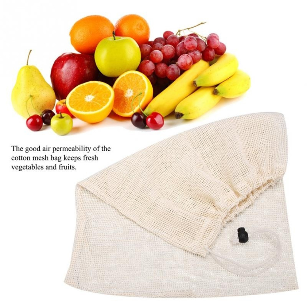 Image 2 - Reusable Organic Cotton Vegetable Mesh Bag for Men Women Home Kitchen Washable Fruit Grocery Drawstring Shopping Storage Bags-in Bags & Baskets from Home & Garden