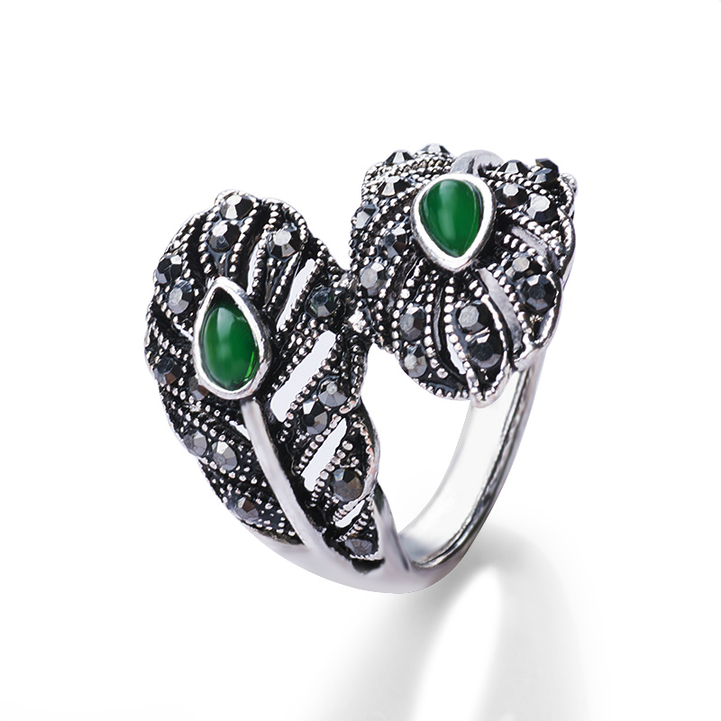 MISANANRYNE Vintage Jewelry Retro Silver Color Green Stone Leaf Rings Women Open Cuff Cocktail Ladies Rings
