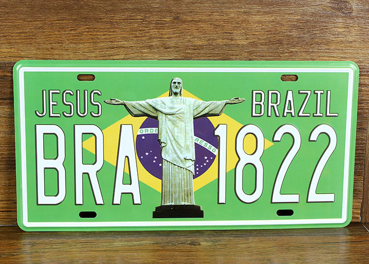 SP-CP-288 Car number  BRA-1822 Brazil  License Plates plate Vintage Metal tin sign Wall art craft painting 15x30cm