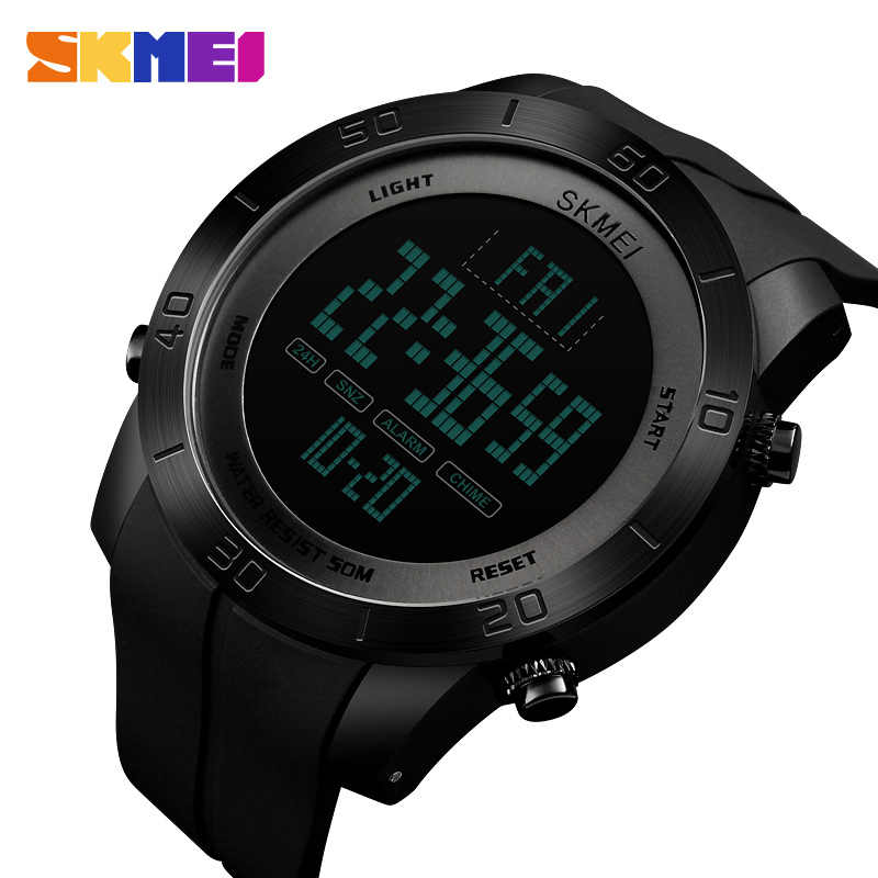 SKMEI Sport Watch Men PU Strap 5Bar Waterproof Multi-Function Watches Men Alarm Clock Digital Watch relogio masculino 1353