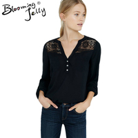 Blooming Jelly Black Floral Lace Blouse Sleeve V Neck Blouse Sheer Top Chiffon Blouse Casual Button