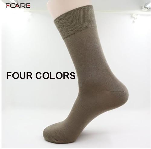 Fcare 10PCS=5 Pairs Black, Khaki, Dark Gray, Brown 43-46 Bamboo Fiber Long Leg Socks Bamboo Men Dress Business Socks Calcetines