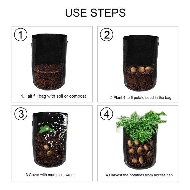 Reusable PE Woven Potato Cultivation Planting Garden Pots Planters Vegetable Planting Grow Bags Farm Greenhouse Seedlings Bags 4