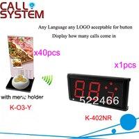 Sistema de llamadas del menú del camarero inalámbrico del restaurante K 402NR + O3 Y + H botón de llamada impermeable y pantalla para el servicio DHL envío gratis button down long sleeve display desserts button batteries -