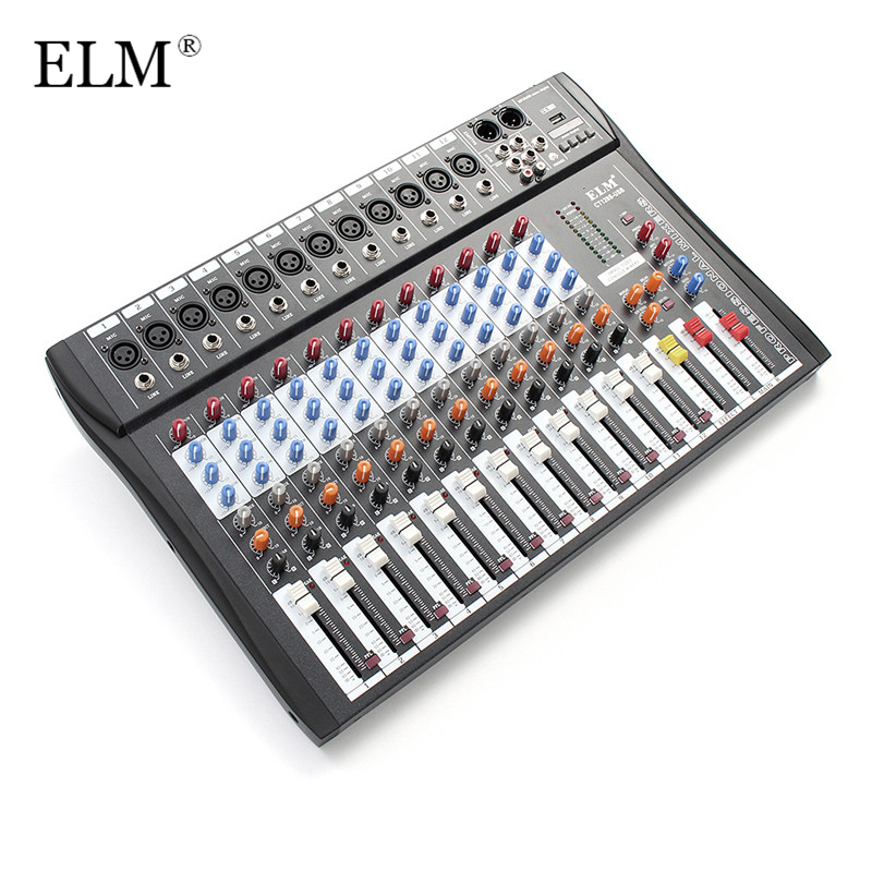ELM Professional 12Channel Karaoke Audio Sound Mixer Super Slim Microphone Mixing Amplifier Console With USB 48V Phantom Power audio mixer cms1600 3 cms compact mixing system professional live mixer with concert sound performance digital 24 48 bit effects
