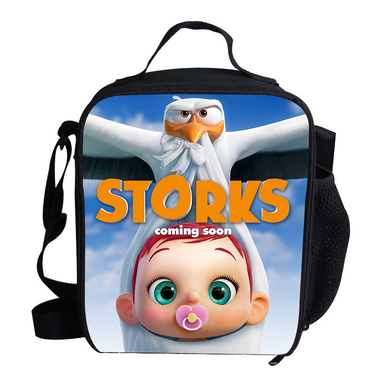 Cartoon Stork Printing Lunch Bag Thermal For Kids Boys Girls Bag For Children Teenagers