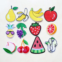 1 Pcs pear Cherry Grape Cartoon Fruit Foods Embroidery Iron on Patches for Clothing Garment Sewing Accessories Badges applique(China)