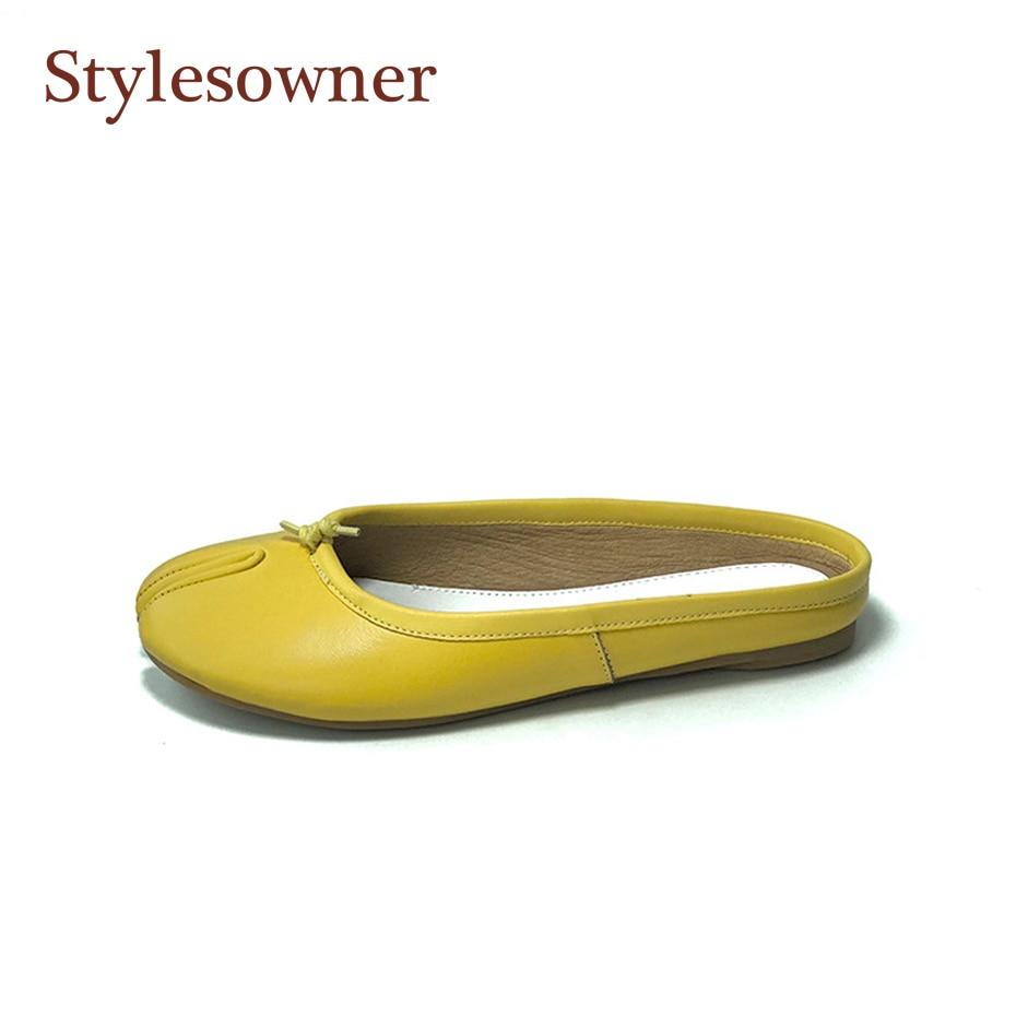 Mujer Rojo Real Planos Amarillo rojo Beige Zapato Toe Zapatilla Moletas Semi Deslizador Stylesowner Cuero Beige Mujeres Ocasionales Señora amarillo Split Sapatos 0Y566q