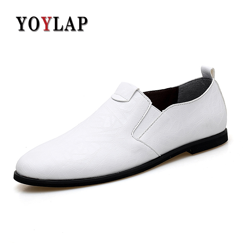 Yoylap Fashion Formal Mens Dress Shoes Black White Slip-on Flats Men Business Dress Shoes Luxury Wedding Male Size 38-47