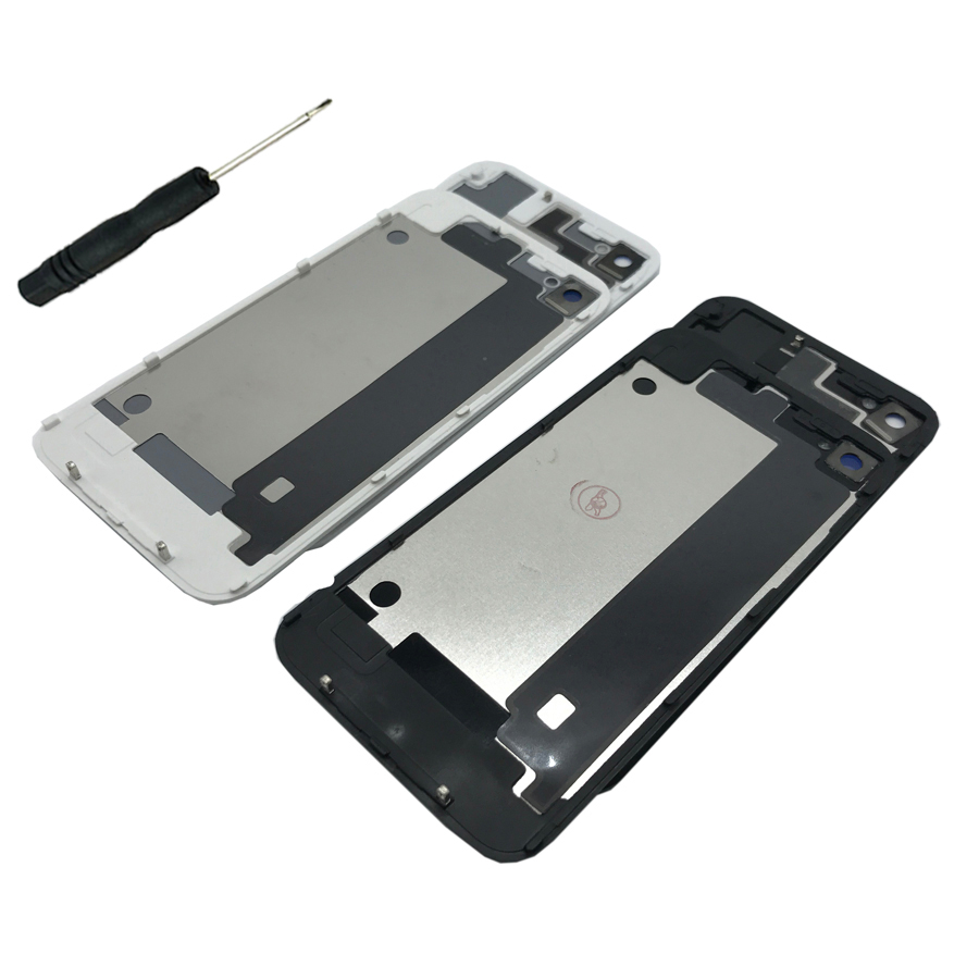 For IPhone 4 4S Original Glass Back Cover Mobile Phone Case Battery Rear Door For Apple IPhone 4S 4 Housing Panel + Tool