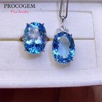 Мода Природный Голубой топаз комплекты украшений для женщин вечерние Юбилей Цепочки и ожерелья кольца 13x18 мм Большой реальные драгоценные