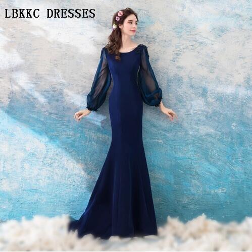 Navy Blue Evening Dresses Mermaid Floor Length Simple But Elegant