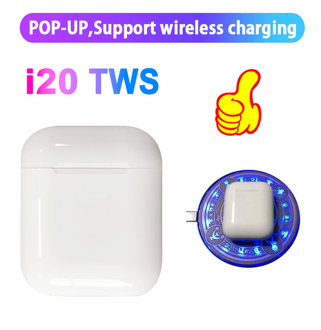 i20 TWS Pop up+Touch function+wrieless charging 14.2 horn i20 tws headset Bluetooth 5.0 6D bass earphone i10 i80 i90 i100 tws