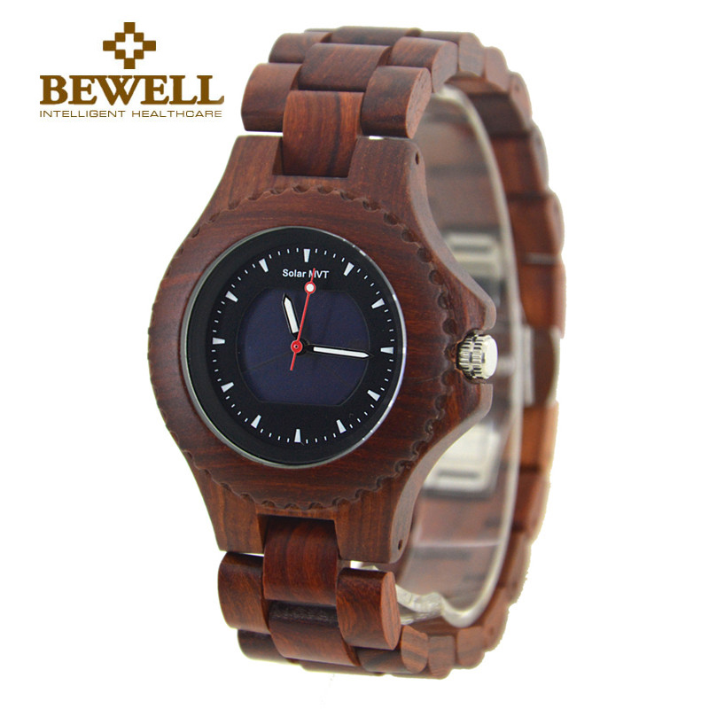 BEWELL Luxury Brand Man Solar Quartz Watches and 30Bra Waterproof Luminous Pointers Wristwatch Fashion Casual Watch 074A bewell fashion luxury brand wooden watch for man round dial date display wristwatch and luminous pointers wood watch zs 109a