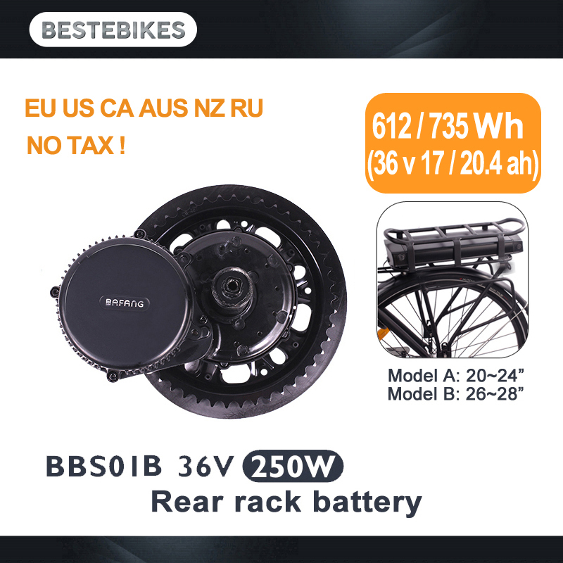 BAFANG motor BBS01B BBS01 250 w 36v17ah/kit elektrische fiets bisiklet elektrikli 20.4ah bateria rack traseiro bicicleta electrica